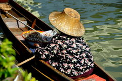 Amphawa, Thailand: Woman at Floating Market Royalty Free Stock Photo