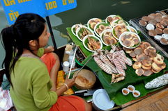 Amphawa, Thailand: Woman Selling Seafood Royalty Free Stock Photo