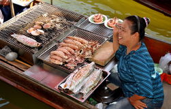 Amphawa, Thailand: Woman Vendor at Floating Market Stock Photography