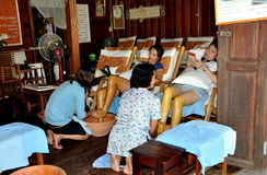 Amphawa, Thailand: Women Getting Foot Massage Stock Image