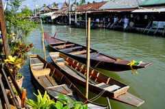 Amphawa, Thailand: Wooden Boats on Canal Royalty Free Stock Images