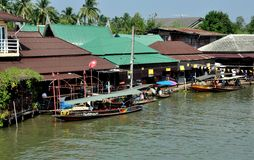 Amphawa, Thailand: Wooden Houses on a Canal Royalty Free Stock Photography