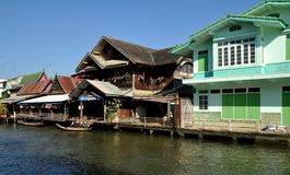 Amphawa, Thailand: Wooden Houses on a Canal Royalty Free Stock Photo
