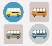 Amphibian bus or land and water touring bus. Vector Stock Image