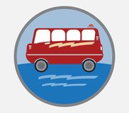 Amphibian bus or land and water touring bus. Vector Royalty Free Stock Images
