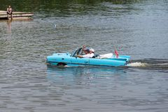 Amphibian car in the lake Royalty Free Stock Photo