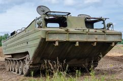AMPHIBIAN. Old military equipment for sailing stock photo