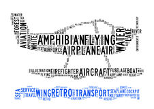 Amphibian plane text clouds Stock Image