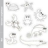 Amphibian  set in vector. Amphibian colorless set  in vector. Under water animals and amphibians. Coloring book for children Stock Images