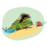 Amphibie rampant hors de l'eau sur la terre sèche, ev biologique illustration libre de droits