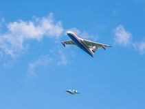 Amphibious aircrafts Beriev Be-200ES `Altair` and Beriev Be-103 `Bekas` Royalty Free Stock Photography
