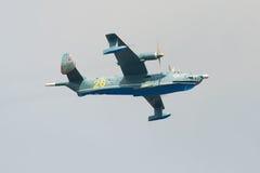 The amphibious anti-submarine airplane Be-12 `Chaika` RF-12012, 28 yellow takes part Royalty Free Stock Images