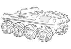 Amphibious ATV line vector art Stock Image