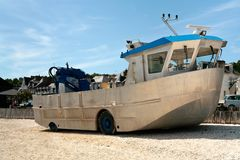 Amphibious boat on beach Stock Image