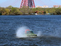 Amphibious boat Slavir 636 on the river Moscow. Stock Photography