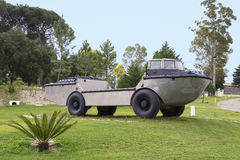 Amphibious car. Vintage amphibious car parked on the grass royalty free stock photography
