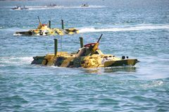 Amphibious landings on the coast Royalty Free Stock Images