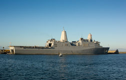 Amphibious Transport Dock - USS New Orleans. Naval Ship USS New Orleans docked at Seal Beach Naval Weapons Station in California Royalty Free Stock Photos