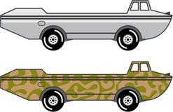 Amphibious Truck Boat on wheels vector Stock Photos
