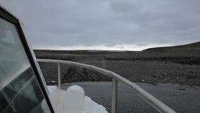 Amphibious vehicle arriving. To the shore at Iceland stock video