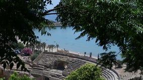 Amphithéâtre antique à Tarragone banque de vidéos