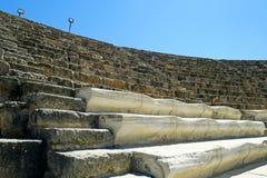Amphithéâtre des ruines de Romains de la ville des salamis, près de Famagusta, la Chypre du nord Photos stock