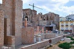 Amphithéâtre romain et ruines dans la ville de Carthagène, région de Murcie, Espagne photos stock