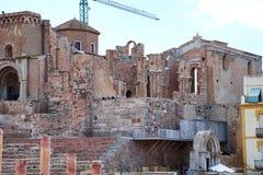Amphithéâtre romain et ruines dans la ville de Carthagène, région de Murcie, Espagne images stock