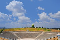Amphitheater. Semi-circular Concrete Amphitheater For Reading Military Lectures Royalty Free Stock Image
