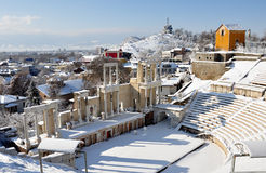 Amphitheater. Ancient Roman amphitheater in Plovdiv, Bulgaria Stock Photo