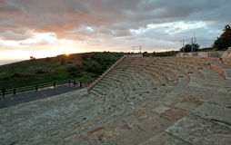 The amphitheater of the ancient city of Kourion in Limassol, Cyp. Rus Royalty Free Stock Photography