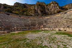 Ancient Greco-Roman Theater in Demre. Amphitheater in the ancient city of Mira, Demre, Turkey Stock Photography