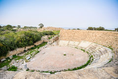 Amphitheater in ancient city of Salamis, Northern Cyprus. Royalty Free Stock Photography