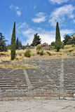 Amphitheater in Ancient Greek archaeological site of Delphi, Greece Royalty Free Stock Images