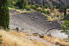 Amphitheater in Ancient Greek archaeological site of Delphi, Greece Stock Photos