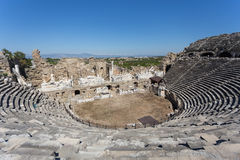 Amphitheater of ancient Side in Turkey Royalty Free Stock Photo