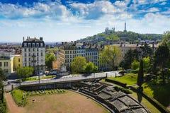 Free Amphitheater And Fourviere Basilica At Lyon City Stock Photo - 91487130