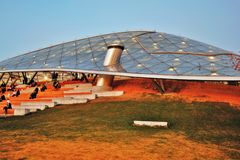 Amphitheater. Architecture of Zaryadye park in Moscow. Popular landmark. Amphitheater. Architecture of Zaryadye park in Moscow. Color photo. Glass bridge, photo royalty free stock image