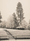 Amphitheater benches covered with snow Stock Photo