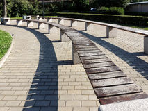 Amphitheater benches in the Izmailovo garden. St. Petersburg Stock Image