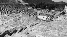Amphitheater in black and white. Amphitheater (Coliseum) in Ephesus (Efes) Turkey, Asia Royalty Free Stock Image