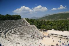 Amphitheater de Epidaurus, Greece Foto de Stock