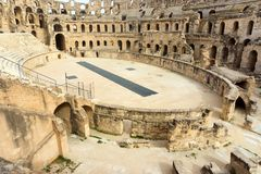 Amphitheater of El Jem in Djem, Tunisia royalty free stock photography