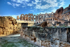 Amphitheater of El Jem in HDR Royalty Free Stock Photos