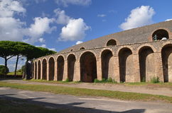 Amphitheater in famous antique ruins of pompeii in southern italy Stock Images