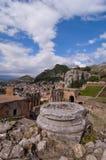 Amphitheater grego de Taormina em Sicília Italy fotografia de stock