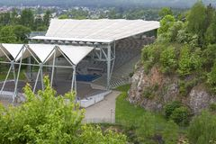 Amphitheater im Naturreservat Kadzielnia, Kielce, Polen Lizenzfreie Stockfotos