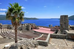 Herceg Novi Fortress Stari Grad, Montenegro. Amphitheater inside the fortress of Herceg Novi old town and kotor bay , Montenegro royalty free stock photo