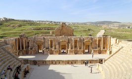 Amphitheater in Jerash (Gerasa of Antiquity), capital and largest city of Jerash Governorate, Jordan Royalty Free Stock Photos