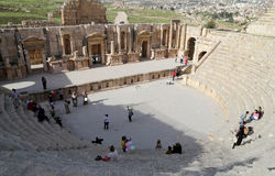 Amphitheater in Jerash (Gerasa of Antiquity), capital and largest city of Jerash Governorate, Jordan Stock Photos